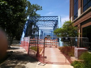 Temporary fence at the blue bridge project, downtown Grand Rapids, Michigan.