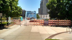 Temporary fence at the Blue Bridge project, in downtown Grand Rapids, Michigan.