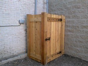 Custom Cedar Wood Privacy Enclosure in Grand Rapids, Michigan.