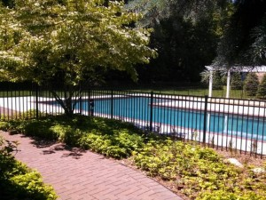 Aluminum Ornamental Fence Around A Beautiful Pool In Saugatuck, Michigan.