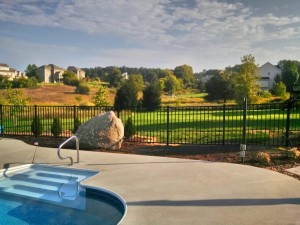 Black Aluminum Ornamental Pool Fence in Rockford, Michigan.