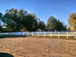 Three Rail Polyvinyl Horse Fence in Rockford, Michigan.