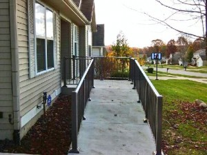 Bronze Aluminum Hand Railing, on a Wheelchair Ramp, in Comstock Park, Michigan.