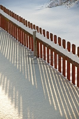 Wood Fence with Snow