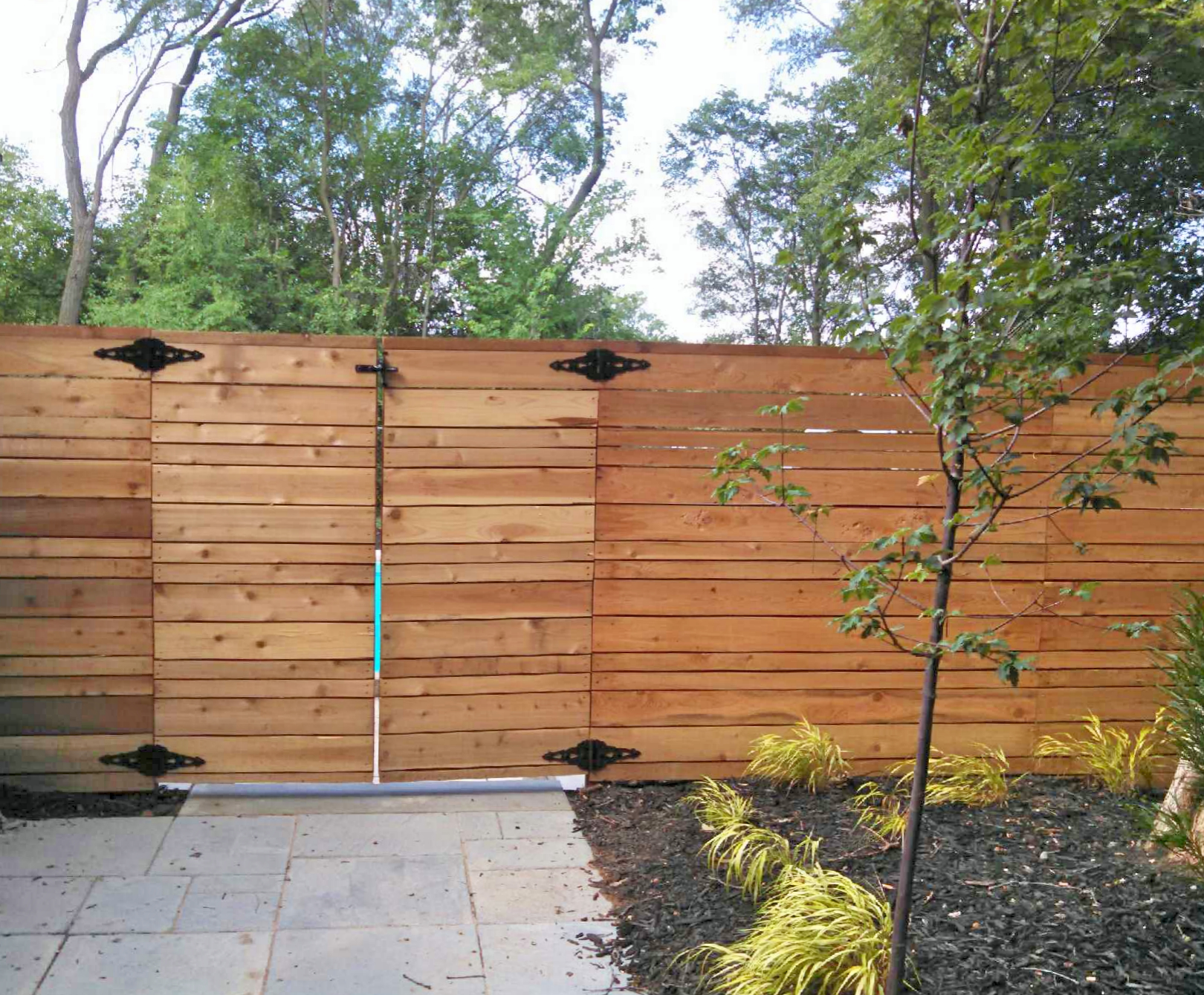 custom cedar horizontal privacy fence in grand rapids michigan