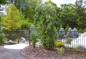 Bronze Aluminum Ornamental Pool Fence in Grand Rapids, Michigan.