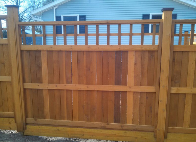 Custom Cedar Privacy Fence in Saugatuck, Michigan.